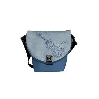 Personalizable azul del dibujo lineal del violín bolsas de mensajería