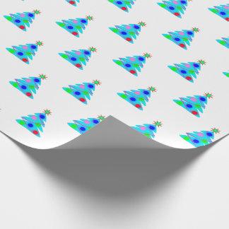 Personalizable azul del modelo del árbol de papel de regalo