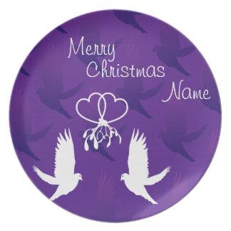 Personalizable Beso de las palomas Platos Para Fiestas