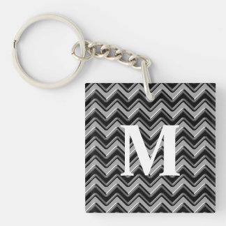 Personalizable Black Gray Monogram Chevron Pattern Double-Sided Square Acrylic Keychain