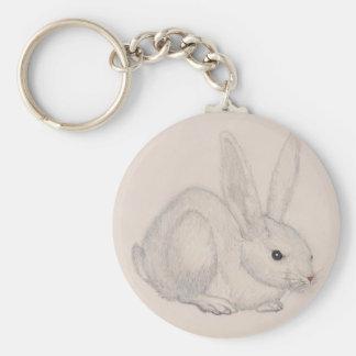 Personalizable blanco llano del conejito llavero redondo tipo pin