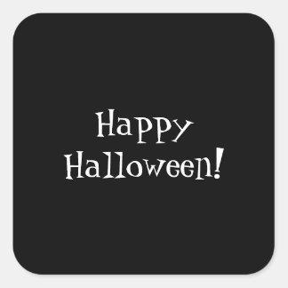 Personalizable blanco negro del feliz Halloween Pegatina Cuadrada