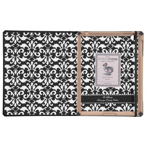 Personalizable blanco y negro del damasco iPad coberturas