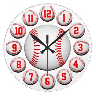 Personalizable blanco y rojo del béisbol 2 relojes de pared