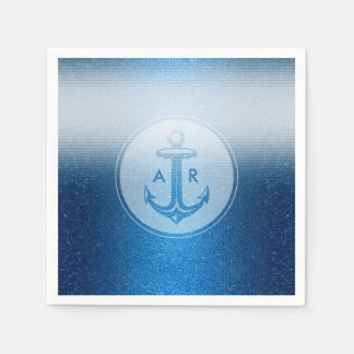 Personalizable Blue Anchor | Nautical Paper Napkin