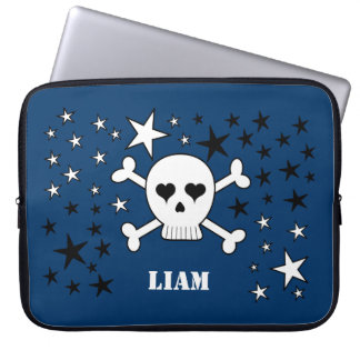 Personalizable Blue Cute Skull and Crossbones Computer Sleeve