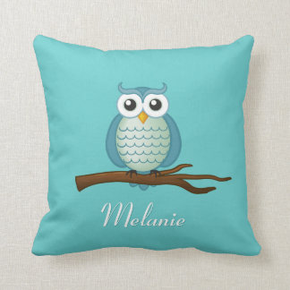 Personalizable Blue Girly Owl Throw Pillow