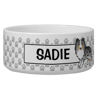 Personalizable Blue Merle Sheltie Dog And Name Bowl