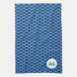 Personalizable Blue Mustache KitchenTowel Towels