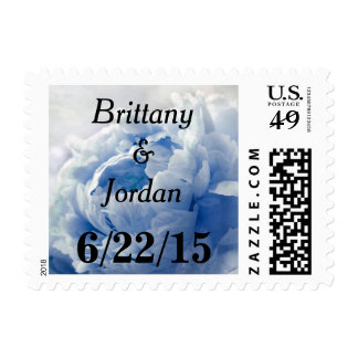 Personalizable Blue Peony Postage Stamps