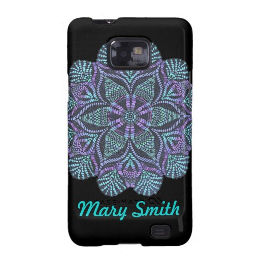 Personalizable Blue & Purple Floral Design Samsung Galaxy S2 Case