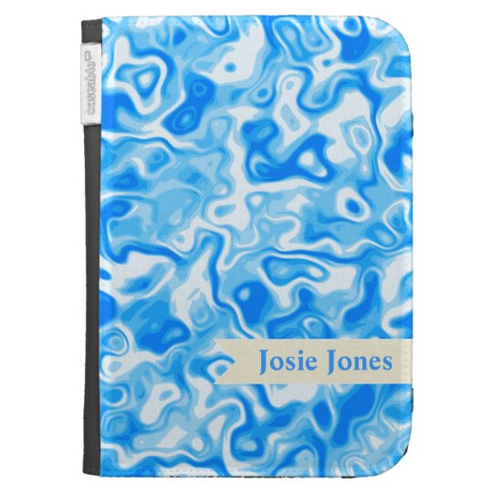 Personalizable Blue Water texture - beige name tag Kindle Keyboard Covers