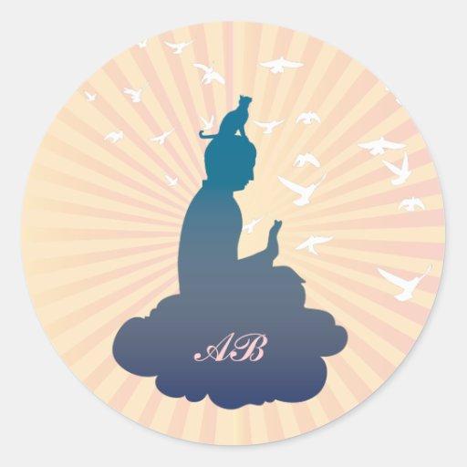 Personalizable: Buda y gatito en una nube Pegatinas Redondas