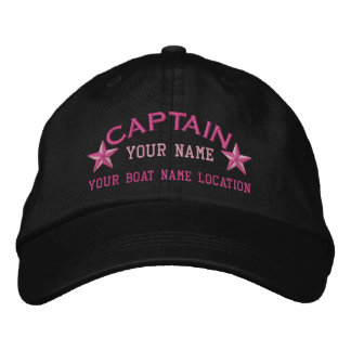 Personalizable Captain Stars Ball Cap Embroidery Embroidered Hat