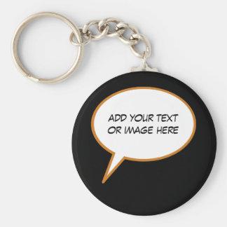 personalizable cartoon speech balloon keychain