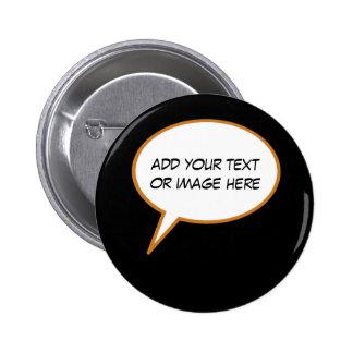 personalizable cartoon speech balloon pinback button