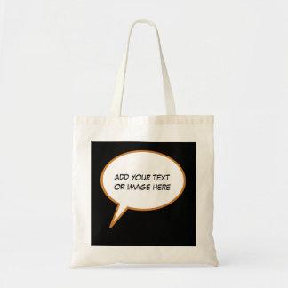 personalizable cartoon speech balloon tote bag