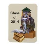 Personalizable chistoso 2014 del búho de la gradua iman de vinilo