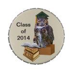 Personalizable chistoso 2014 del búho de la gradua frascos de caramelos