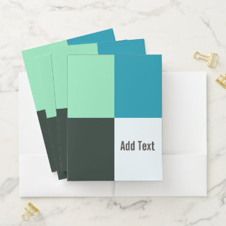 Personalizable Coal Ivory Teal Blue Turquoise Pocket Folder