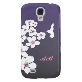 Personalizable: Colibrí y flor en púrpura Funda Para Galaxy S4