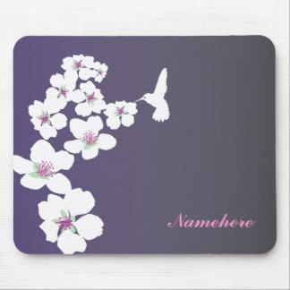 Personalizable: Colibrí y flor en púrpura Mousepad