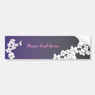Personalizable: Colibrí y flor en púrpura Pegatina Para Auto