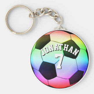 Personalizable Colorful Soccer | Football Gift Basic Round Button Keychain