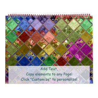 Personalizable colorido del arte de la teja calendarios