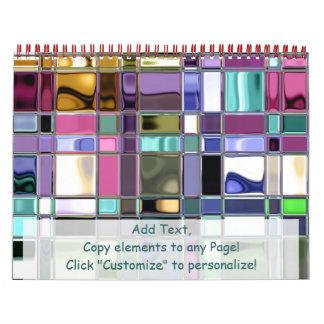 Personalizable colorido del arte de la teja calendarios de pared