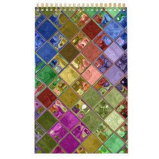 Personalizable colorido del arte del mosaico calendario de pared
