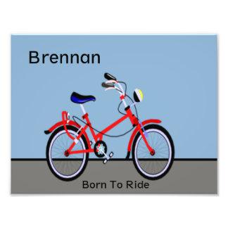 Personalizable conocido rojo de la bicicleta y del impresiones fotográficas
