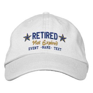 Personalizable corrige el bordado jubilado feliz gorros bordados