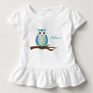 Personalizable Cute Aqua Owl Toddler T-shirt