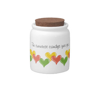 Personalizable Cute Hearts Candy Jar
