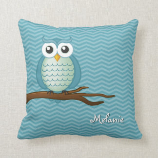 Personalizable Cute Owl Throw Pillow