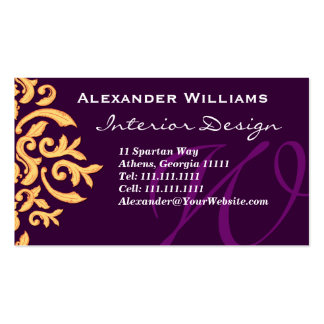 Personalizable de color morado oscuro elegante del tarjeta de visita