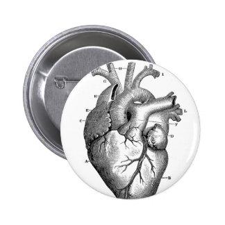 Personalizable de la anatomía el | del corazón del pin redondo de 2 pulgadas