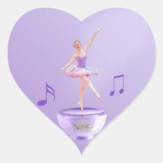 Personalizable de la bailarina de la caja de músic calcomanía de corazón