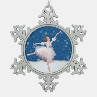 Personalizable de la bailarina de la reina de la adorno de peltre en forma de copo de nieve
