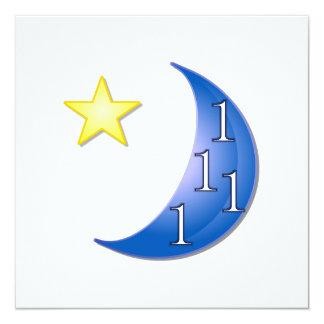 """Personalizable de la luna azul invitación 5.25"""" x 5.25"""""""