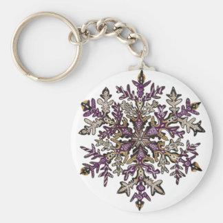 Personalizable de la nieve el | de la púrpura real llavero redondo tipo pin