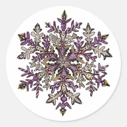 Personalizable de la nieve el | de la púrpura real pegatina redonda
