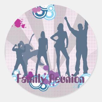 Personalizable de la reunión de familia pegatina redonda