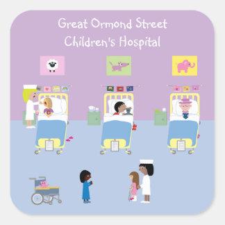 Personalizable de la sala del hospital de niños pegatinas cuadradas personalizadas