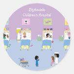 Personalizable de la sala del hospital de niños pegatina redonda