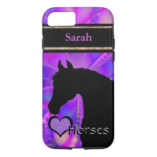 Personalizable de los caballos III del corazón Funda iPhone 7