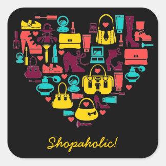 Personalizable de Shopaholic corazón Calcomanía Cuadrada Personalizada