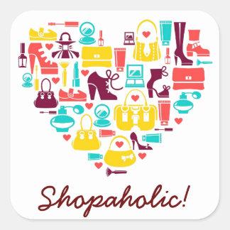 Personalizable de Shopaholic (corazón)) Pegatina Cuadrada