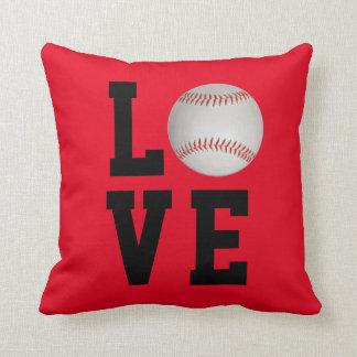 Personalizable del amor del béisbol cojín decorativo